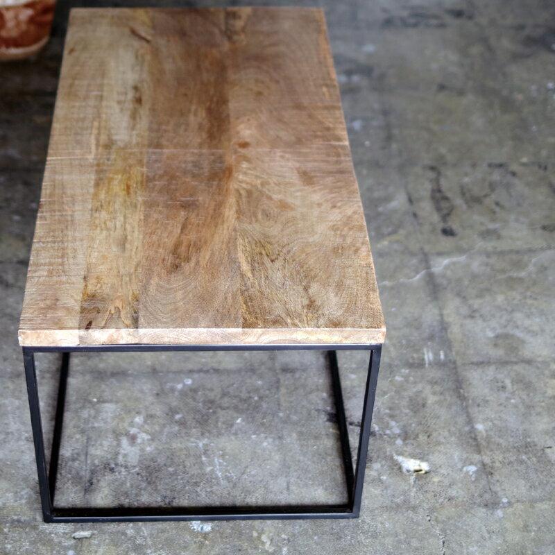 ローテーブル 無垢材 センターテーブル コーヒーテーブル インダストリアル家具 アイアン