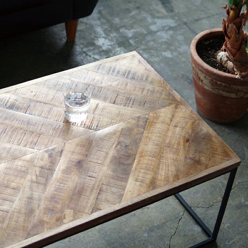 ローテーブル 無垢材 センターテーブル コーヒーテーブル インダストリアル家具 アイアン Lサイズ