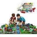 恐竜おもちゃ 恐竜フィギュア 知育おもちゃ プレーシート付き 収納ボックス 恐竜遊び リアルな恐竜おもちゃ 樹木 草 …