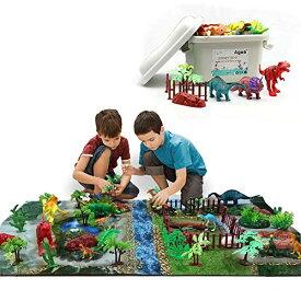 恐竜おもちゃ 恐竜フィギュア 知育おもちゃ プレーシート付き 収納ボックス 恐竜遊び リアルな恐竜おもちゃ 樹木 草 創造できる恐竜