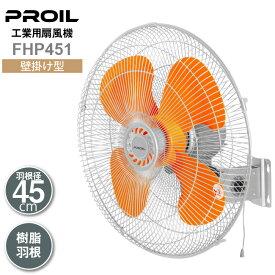 プロイル 工場扇 壁掛け型 45cm 樹脂羽根 首振り 風量3段階 風量調節ひも付 羽根簡単取付 FHP451