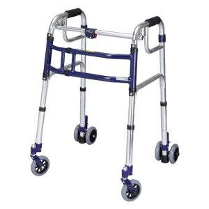 歩行器 スライドフィット ハイタイプ 室内・屋外兼用 H-0194W Hタイプ 4インチWキャスター  ユーバ 四輪歩行器(介護用品 歩行器 介護用 介護 高齢者 室内 歩行器 シルバー)