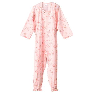 介護 寝間着 介護つなぎ服(前開き)LLサイズ 403420  フットマーク RCP 介護用品 寝巻き 介護用 介護 パジャマ つなぎ