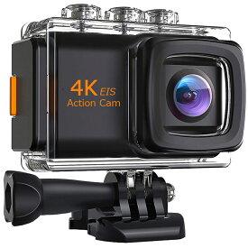 4K画質 アクションカメラ EIS(手ぶれ補正) バッテリー2個 手ぶれ補正 SONY/IMX179sensor搭載 リモコン付き 外付けマイク付き スマホ連動 タイムラプス バースト撮影 技適 専用ケース付き LP-EISM80 キャッシュレス 還元