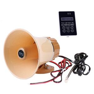 車載拡声器 防水 スピーカー&アンプセット 12-60V汎用 マイク内蔵 録音/再生 MicroSD/USBメモリー対応 120秒録音機能付 MP3 LP-CA165AM