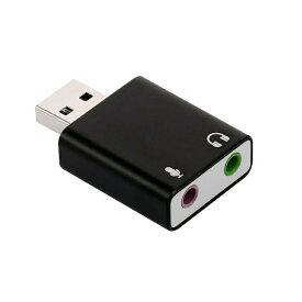 USB外付けサウンドカード USB⇔オーディオ変換アダプタ 3.5mmミニジャック ヘッドホン出力/マイク入力対応 小型軽量 5.1ch/3Dサラウンド対応 オーディオインターフェイス LP-PFUOS15015