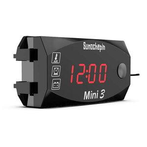 バイク用デジタルメーター 電圧計/温度計/時計 3in1 防水 防塵 LEDインジケーター赤 ボルトメーター ツーリング 旅行 12V車専用 LP-SMC3IN1