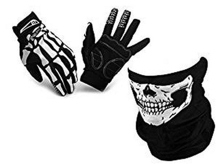 バイク/自転車用 スカルフェイスマスクとスケルトン手袋の髑髏セット 防風防寒 フェイスカバー ネックウォーマー アウトドア ボーングローブ 滑り止め付き LP-TORE36QEP01SET