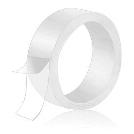 水洗い可能透明両面テープ 幅3cmX長さ1m 粘着 繰り返し使用可 魔法のテープ 耐熱 強力 滑り止め のり跡が残りにくい LST-TAPNAN3CM