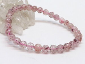 高品質天然石 ピンクエピドート 6玉ブレス pe-0097