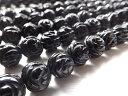 【天然石】オニキス 両面薔薇彫り 10mm  1連売り【パワーストーン】