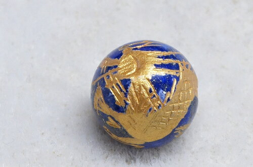 【天然石卸】龍彫りラピスラズリ 金彫り 12mm 粒売り 一粒売り