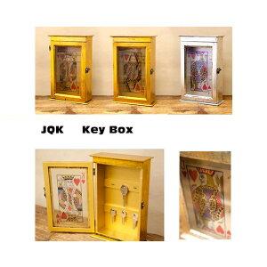 キーボックス トランプ柄 おしゃれ 木製 イエロー 収納 鍵