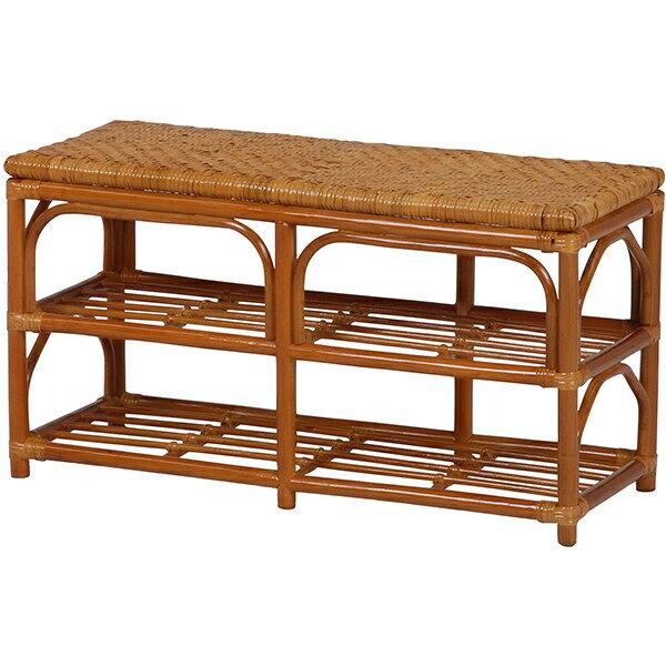【送料無料】ベンチ 腰をかけて、収納も出来る座面が手編みのラタンベンチ