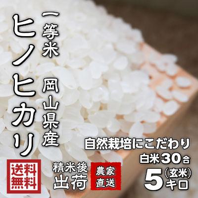 【送料無料 精米して発送 新鮮】ヒノヒカリ米 5kg 岡山県産 農家直送(宅配便) ひのひかり米 国産100% 有機栽培にこだわり、農薬や化学肥料を慣例の50%以上の削減率。農家さんが手間を惜しまず育てたお米。味がしっかりし米粒が揃っていてきれいな品種。