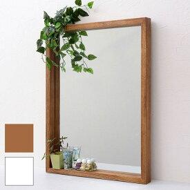 【あす楽】鏡 ミラー アンティーク ボックスミラー ANTE アンテ 天然木 北欧 シンプル おしゃれ ブラウン ホワイト 幅45 長方形