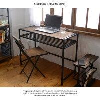 デスクセットSEEDシード幅100パソコンデスク折りたたみチェアセット木製北欧コンパクトシンプルパソコン机書斎机学習机棚おしゃれアイアン男前ブルックリンポイント10倍