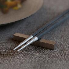 正規品箸箸置き1膳セットクチポールゴアGOAブラックシルバーカトラリーセットブラック/シルバー