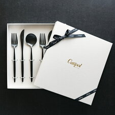 クチポールMOONディナー6点セットディナーナイフディナーフォークディナースプーン各2本マットブラック黒カトラリー