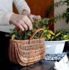 ラトビアのかごヤナギカゴバッグリガ手作り手さげバスケットラトビア柳のかごバッグS
