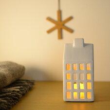 キャンドルホルダー「LifeStyle&Home白い陶器のキャンドルハウスホワイトS」かわいいおうちオブジェ置き物LEDキャンドルスタンド