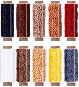 Andyamy レザークラフト 蝋引き糸 ロウ引き糸 手縫い 紐 ワックスコード 平紐 タイプ 10色セット 長さ各30m 太さ1mm 革用 ろうびき糸 DIYレザークラフト用ロウ引き紐