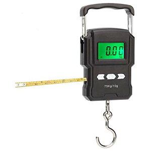 色:1mメジャー内蔵型 フィッシング用デジタルスケール デジタル吊り下げ秤 フィッシングスケール メジャー付き デジタル吊りはかり 高精度 軽量 電子吊りはかり【最大75kgまで計測可 / 大