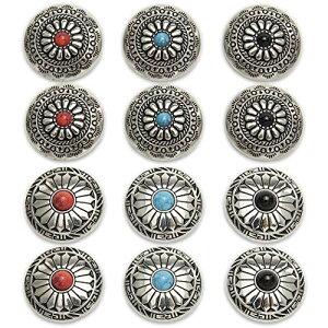 コンチョ ボタン シルバー ターコイズ レザー クラフト 財布 バッグ ハンドメイド 12個セット