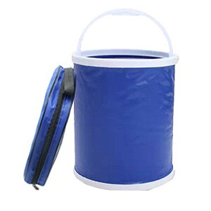 屋外折り畳み式バケツ 取っ手付き、13L丸型ウォーターバッグ、 多機能アウトド ア魚釣り 家 掃除 洗車災害などの時用にコンパクト持ち運び便利 収納袋を付き