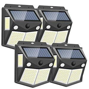 【2020年最新版】Focondot センサーライト ソーラーライト 160LED 2センサー 4面発光 人感センサー 屋外照明 防水 防犯ライト 300照明範囲 自動点灯 屋外 庭 玄関 駐車場 ガーデンライト 4個セット
