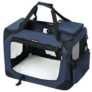 色:ブルー FEANDREA キャリーバッグ 中型犬 大型猫 ペットキャリー 省スペース 頑丈耐久 変形しない 室内用可 NPDC60Z