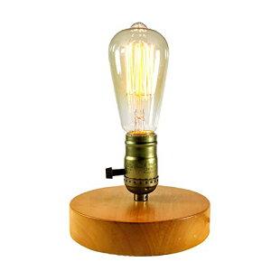 色:テーブルランプ テーブルランプ 木ベース E26電球対応(電球別売) 調光スイッチ付き アンティークランプ 和風スタンド エジソンスタンド