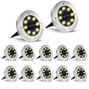 色:12個 ウォームホワイト ソーラーグラウンドライト 暖色系 電球色 埋め込み式 スポットライト ガーデニング ip65防水 ステンレス鋼プラスチック素材 ガーデン、庭、芝生、公園に適う ア