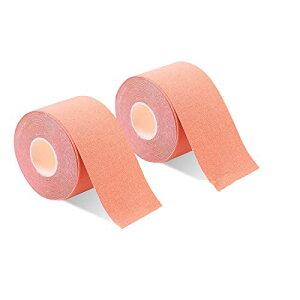 色:ベージュ 2巻入 テーピングテープ キネシオ テープ 筋肉・関節をサポート 伸縮性強い 汗に強い パフォーマンスを高める 5cm x 5m