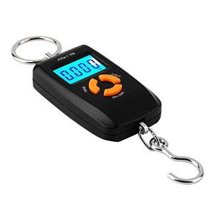 色:ブラック デジタルフィッシングスケール 見やすい大きなデジタル表示 乾電池式 バックライト搭載 風袋機能付 簡単操作 温度表示付 デジタルはかり ポータブル計量器 FMTH1960B