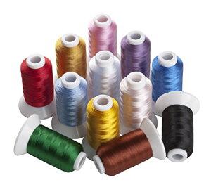 サイズ:500M 12色セット/各500m ミシン用糸 刺しゅう糸 家庭用ミシン糸 カラー糸