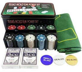 Poker Star ポーカーセット 本格 カジノ ポーカー ゲーム セット テキサスホールデム ブラックジャック トランプ チップ 200枚 コイン マット 日本語説明書