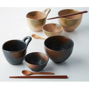 釉変り ペア玉子かけご飯セット(丼&小付&片口鉢&箸&スプーン)/どんぶり/丼/片口/茶碗/