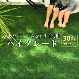 人工芝 高級 ロール 1m×10m 芝丈30mm 防炎認証済 ロールタイプ 人工芝生 リアル ハイグレード 水はけ 長寿命 高耐久 高品質 庭 ベランダ 防草 柔らかい 子供に優しい 犬 猫 おすすめ 送料無料