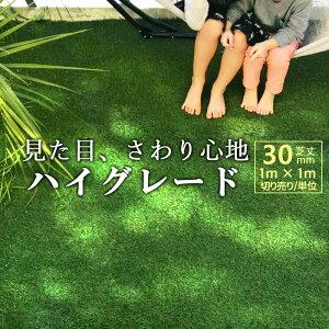 人工芝 高級 ロール 幅1m×長さ1m単位 切り売り 芝丈30mm 防炎認証済 人工芝生 リアル 芝生 長寿命 高耐久 高品質 高密度 ハイグレード 水はけ 庭 ベランダ 防草 柔らかい 子供に優しい 犬 猫 お