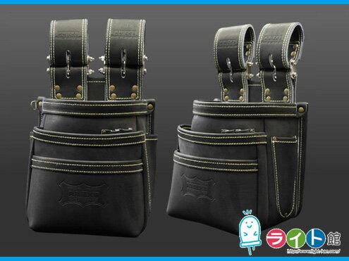 KNICKS ニックスチェーンタイプ高級グローブ革使用3段腰袋〈ブラック〉KGB-301DDX