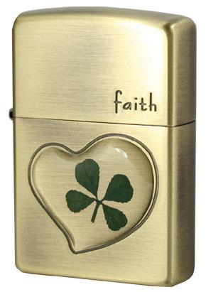 Zippo ジッポー 本物四つ葉のクローバー 真鍮古美 Faith 誠実 zippo ジッポライター オプション購入で名入れ可