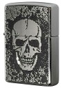 Zippo ジッポー 200 Flat Bottom Metal Paint Plate 2MPP-Skull GY zippo ジッポ ライター オプション購入で名入れ可