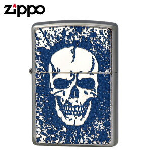 Zippo ジッポー Zippoライター ジッポライター スカル オイルライター 200 フラットボトム メタルペイントプレート 2MPP-Skull(BL) ギフト プレゼント 贈り物 返品不可 喫煙具