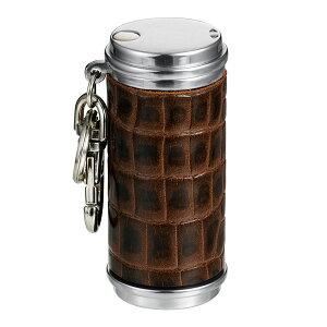 携帯灰皿 おしゃれ 革 アッシュシリンダー革巻き(クロコ茶本牛革型押し) ギフト プレゼント 贈り物 メンズ Men's おしゃれ