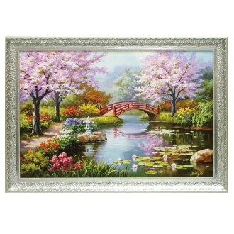 art painting landscape painting interior door sun kim japanese garden sk 20005 - Japanese Garden Cherry Blossom Paintings