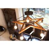 5BULBWOODSTARLIGHT_M5灯ウッド(×BKスチール)スター型_ペンダントライト[M]サイズ電球なし
