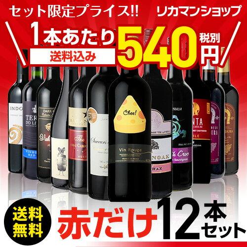赤だけ!特選ワイン12本セット 第125弾【送料無料】[ワインセット][長S] 赤ワイン