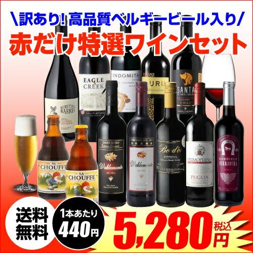 訳ありセット 9,028円→5,280円訳ありビール2本入り!赤だけ特選ワイン10本セット 17弾 送料無料ワインセット 赤ワイン ビール 長S