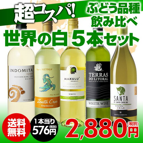 ワインセット 白5本 世界のぶどう品種飲み比べ 超コスパ白ワインセット 8弾【送料無料】[ワインセット][長S]